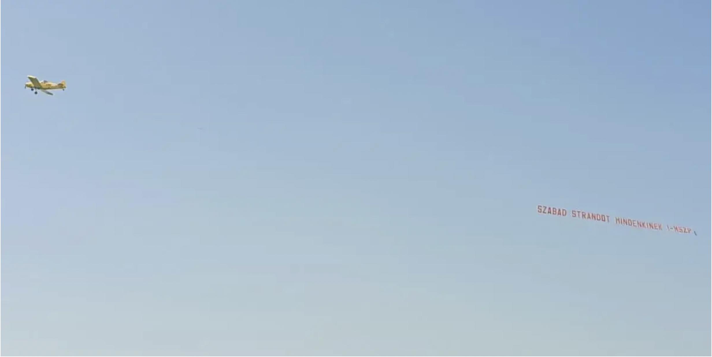 Az MSZP egy balatoni szabadstrand felett repked, hogy szabad strandot  mindenkinek | Vadhajtások