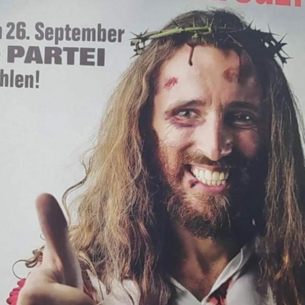 Jézussal viccelődik egy német párt