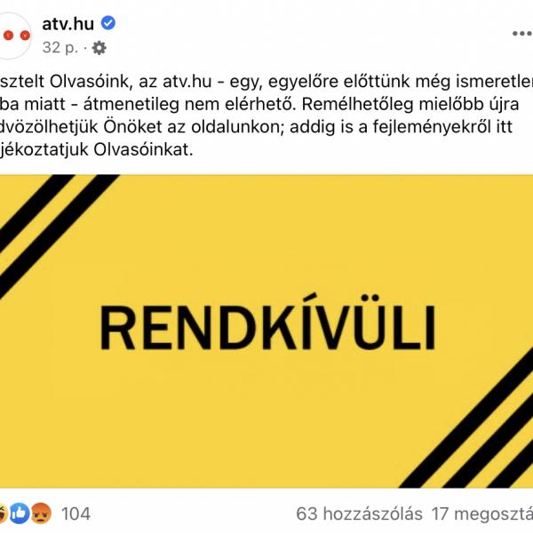 Eközben az interneten: lekapcsolták az ATV weboldalát (is)