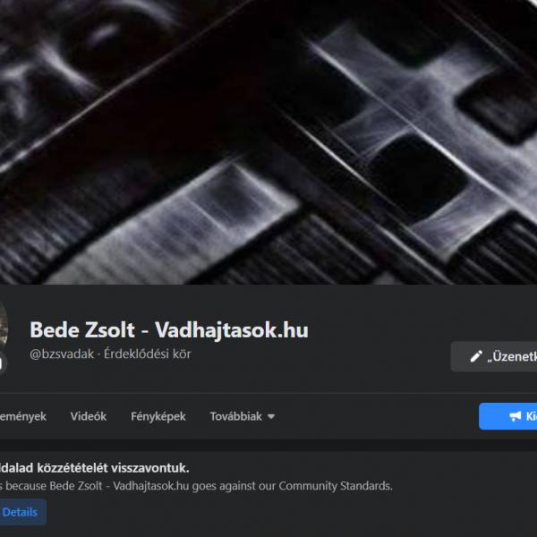 A Facebook letiltotta Bede Zsolt közszereplői oldalát
