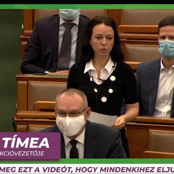 Maszk nélkül beszél a parlamentben a képviselőtársát ezért támadó Szabó Tímea